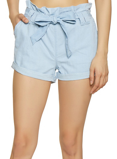 Paper Bag Waist Chambray Shorts,LIGHT WASH,large