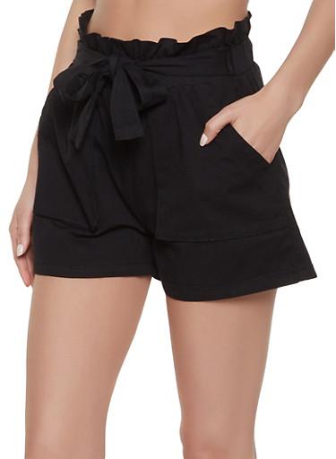 Tie Paper Bag Waist Shorts,BLACK,large