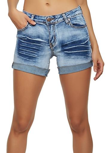 Whisker Wash Denim Shorts,MEDIUM WASH,large