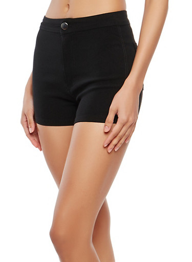 High Waisted Solid Stretch Shorts,BLACK,large