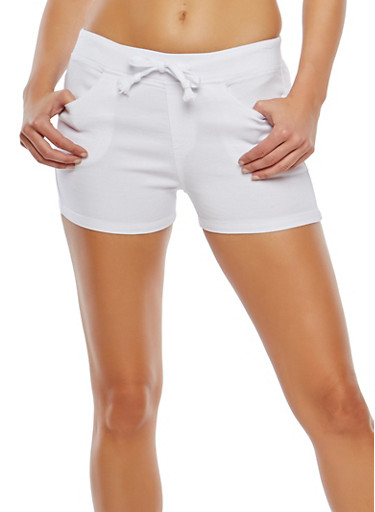 Stretch Drawstring Waist Shorts,WHITE,large