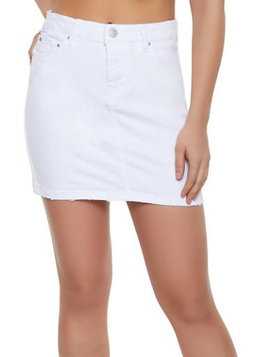 Almost Famous Denim Mini Skirt,WHITE,large