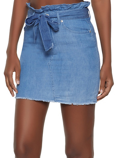 Almost Famous Paper Bag Waist Denim Skirt,LIGHT WASH,large