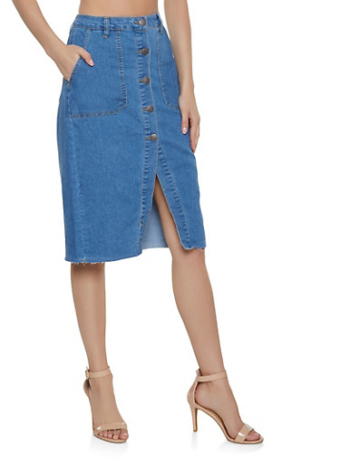 Almost Famous Button Front Denim Skirt,MEDIUM WASH,large