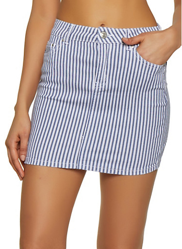 Almost Famous Striped Denim Skirt,WHITE,large