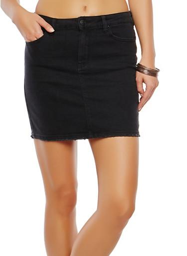 Almost Famous Basic Denim Skirt,BLACK,large