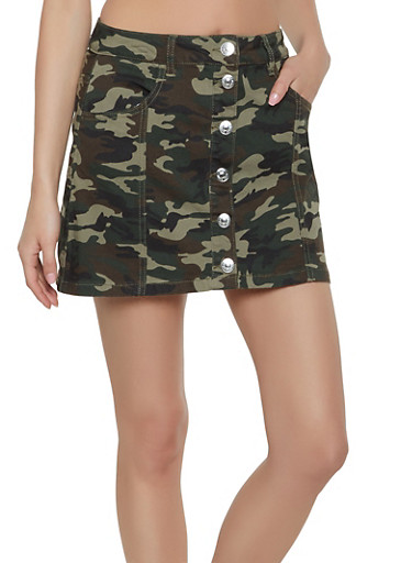 Almost Famous Camo Jean Skirt,OLIVE,large