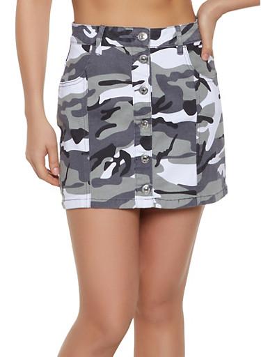 Almost Famous Camo Denim Mini Skirt,WHITE,large