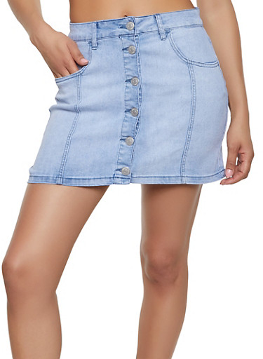 6eefa9fd8b3 Almost Famous Button Front Jean Skirt - Rainbow