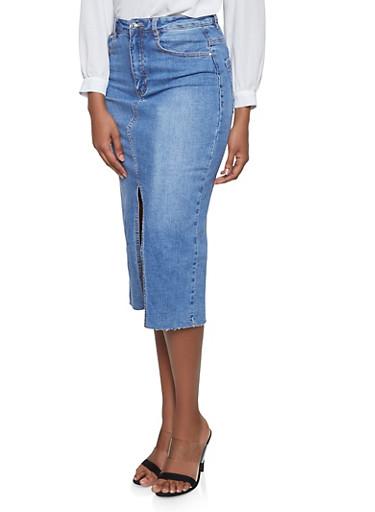 Almost Famous Midi Denim Skirt,MEDIUM WASH,large