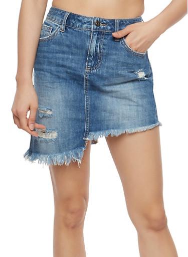 Cello Frayed Asymmetrical Hem Denim Mini Skirt,MEDIUM WASH,large