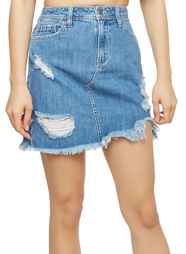 Cello Frayed Denim Mini Skirt,MEDIUM WASH,large