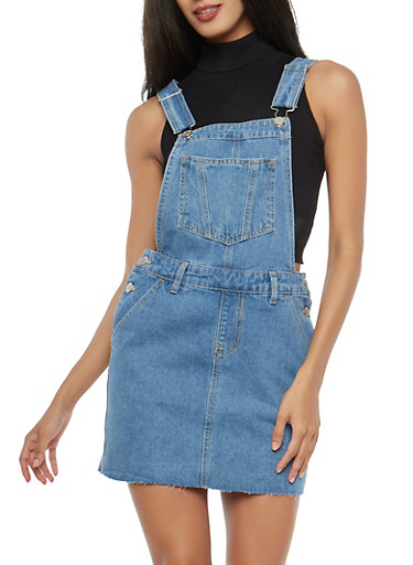 Raw Hem Denim Overall Dress,MEDIUM WASH,large