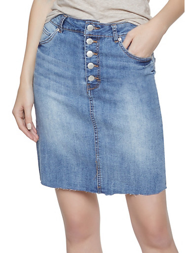 Highway Frayed Denim Skirt,MEDIUM WASH,large