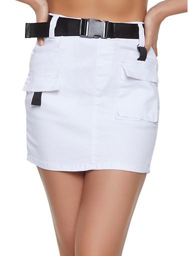 Buckle Belt Cargo Skirt,WHITE,large