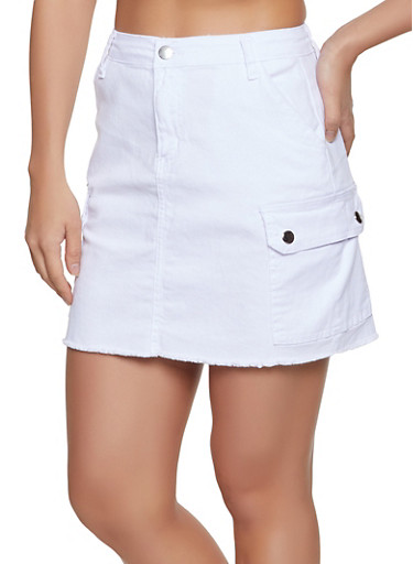 Frayed Cargo Skirt,WHITE,large