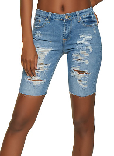Almost Famous Ripped Bermuda Jean Shorts,LIGHT WASH,large
