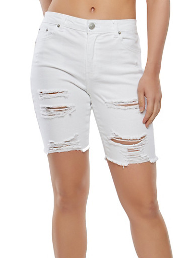 Almost Famous Destroyed Denim Bermuda Shorts,WHITE,large