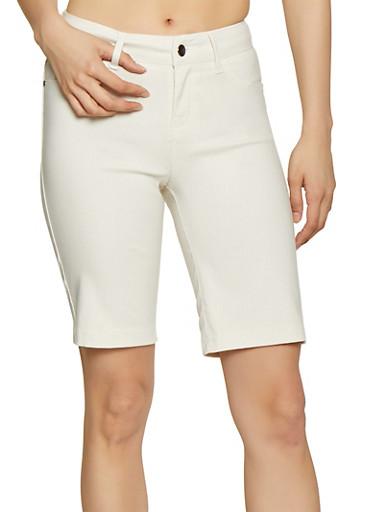 Push Up Stretch Bermuda Shorts,IVORY,large