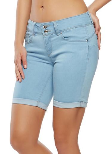 WAX 2 Button Bermuda Shorts,LIGHT WASH,large