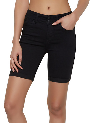 WAX Push Up Denim Bermuda Shorts,BLACK,large