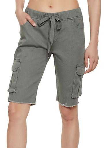 Frayed Cargo Bermuda Shorts,OLIVE,large