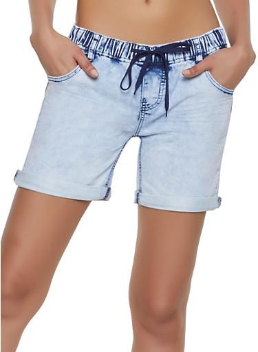 Elastic Waist Denim Shorts,WHITE,large