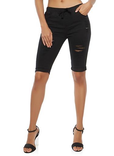 Destroyed Bermuda Shorts,BLACK,large