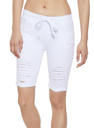 Destroyed Pull On Bermuda Shorts,WHITE,large