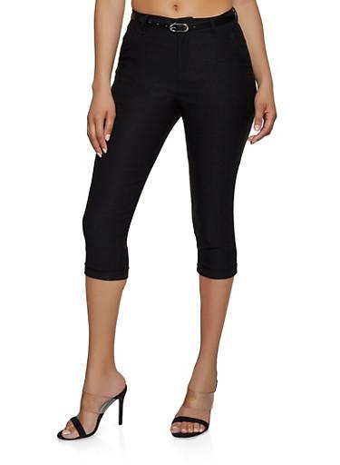 Belted Stretch Capris,BLACK,large