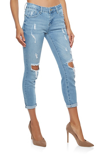 WAX Distressed Cropped Skinny Jeans,LIGHT WASH,large