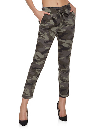 Tie Front Camo Trousers,GREEN,large