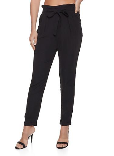 Paper Bag Waist Tie Front Pants,BLACK,large