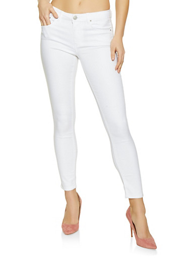Almost Famous Basic Skinny Jeans,WHITE,large