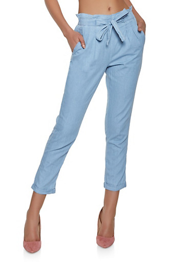 Almost Famous Chambray Tie Front Trousers,LIGHT WASH,large