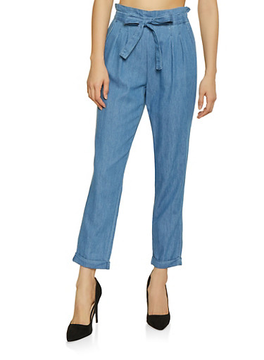 Almost Famous Chambray Tie Front Trousers,MEDIUM WASH,large