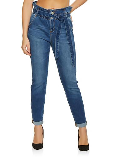 Almost Famous Paper Bag Waist Jeans,MEDIUM WASH,large