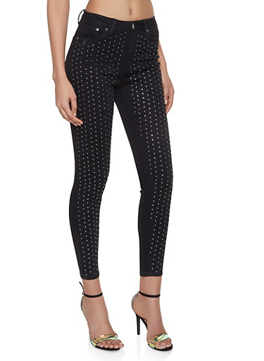 Almost Famous Rhinestone Studded Jeans,BLACK,large