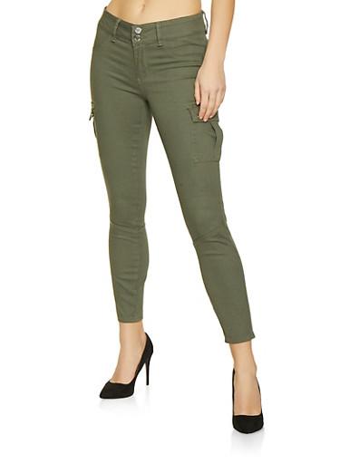 Cargo Skinny Pants,OLIVE,large