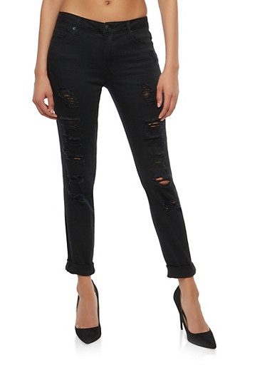Almost Famous Ripped Skinny Jeans,BLACK,large