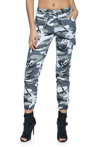 Almost Famous Camo Cargo Pocket Joggers,WHITE,large