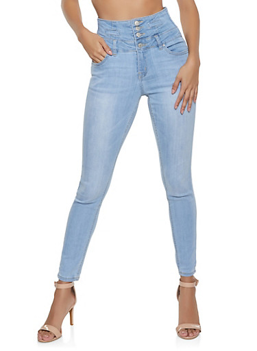 Almost Famous High Waisted Jeans,LIGHT WASH,large