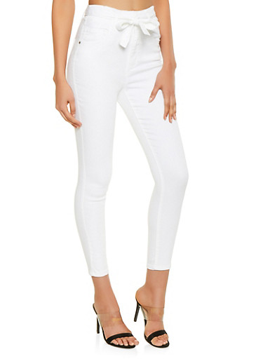 Almost Famous High Waisted Push Up Jeans,WHITE,large