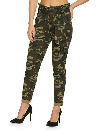 Almost Famous Belted Camo Jeans,OLIVE,large