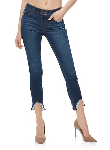 Almost Famous Low Rise Raw Hem Skinny Jeans,DARK WASH,large