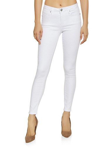 Almost Famous Push Up Skinny Jeans,WHITE,large
