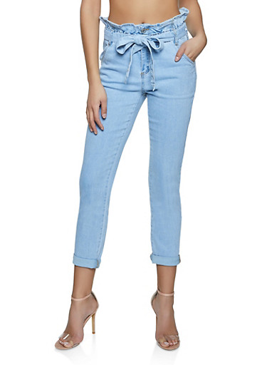 Almost Famous Belted Paper Bag Waist Jeans,LIGHT WASH,large