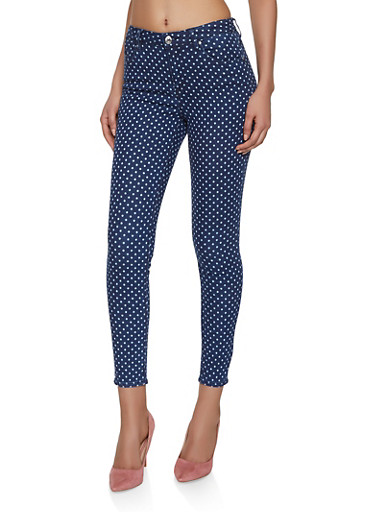 Almost Famous Polka Dot Skinny Jeans,MEDIUM WASH,large