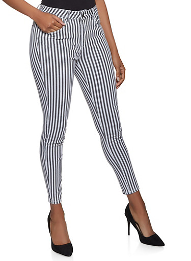 Almost Famous Striped Skinny Jeans,BLACK/WHITE,large