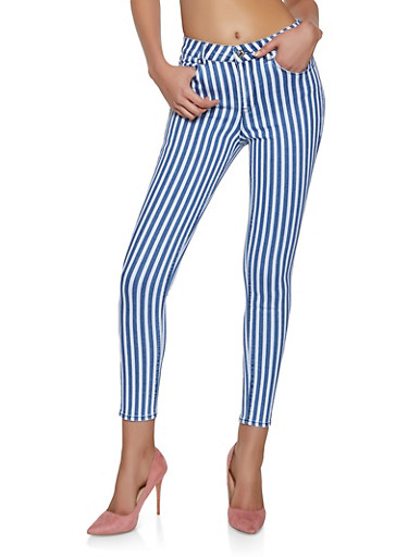 Almost Famous Striped Skinny Jeans,MEDIUM WASH,large